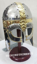 Viking Mask Helmet with Chain Mail Medieval Armor Role Play Costume Helmet