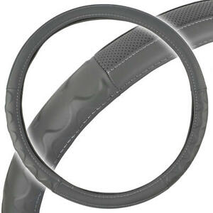 "Big Rig Steering Wheel Cover for Tractor Trailer 18"" Gray Premium Syn Leather"