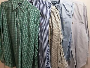 Lot 5 Polo Ralph Lauren Long Sleeve Green Blue Yellow Mens Shirts Large 17 32/33