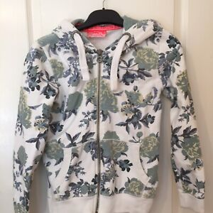 Superdry Size XS Floral Hoodie Full Zip White Green Blue - Perfect (Box 5)