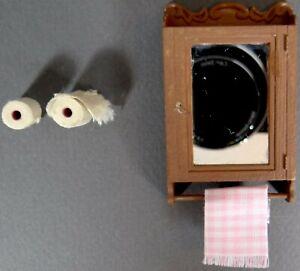 Vtg Dollhouse Toilet Paper Medicine Cabinet Towel Bar Holder 1970s Plastic Wood