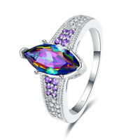Gifts Marquise Cut Rainbow & White & Pink Topaz & Amethyst Gemstone Silver Ring