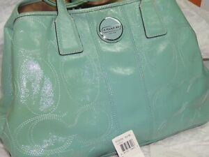 Genuine Coach Patent Leather Carryall Tiffany Blue Stitch Monogram Purse Handbag