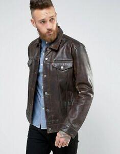 New Levi's Buffalo Leather Trucker Jacket Buff Rustic Size: L RRP £320