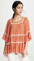 Free People Talk About It Tunic Top In Orange Floral Size S Small