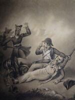 Ecole FRANCAISE début XIX DESSIN MILITAIRE GUERRE REVOLUTION PRUSSE MARCEAU 1800