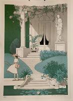 Vintage NOYER DENIS PAUL Signed Pastel LITHOGRAPH To School Lolita