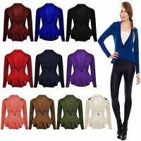 New Ladies Womens Studded ONE Button Spike Shoulder Blazer Coat Jacket TOP