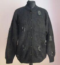 VTG Ladies DANIELA Black Lined Applique Mohair Mix Cardigan Size Large (B31)