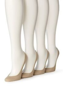 HUE 158018 Women's Cream Hidden Cotton Liner No Show Socks 4 pair pack Size M-L