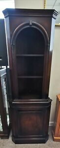 Vintage Mahogany Corner Display Cabinet with 3 Shelves and Cupboard Base