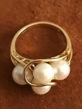 Gold 14k Pearl Ring 4 pearls 2mm ea. in lovely Setting size 7