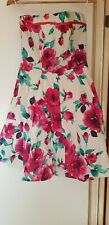 NEW LOOK Ladies floral strapless skater style summer dress with a net underlayer