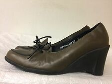 Arche Women Brown Leather Slip On Wedges Leather Career Shoes Heels size US 7