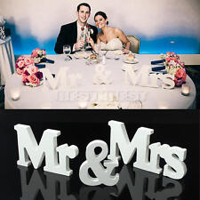 Wedding Reception Sign White Wooden Letters Mr & Mrs Table Centrepiece Decor