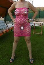 robe courte transparente  trés sexy couleur rose fushia taille 36 a 40