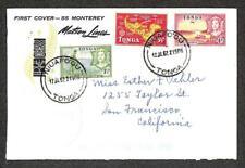 TONGA SCOTT #101 104-5 STAMPS TO USA MONTEREY SHIP TIN CAN CANOE MAIL 1962