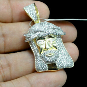 Mini White Gold & Yellow Gold Tone Jesus Face Head Charm Pendant Simulated Stone