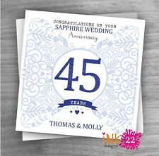Personalised Unique Handmade Milestone 45th Sapphire Wedding Anniversary card