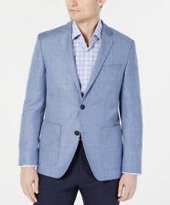 $545 HUGO BOSS Mens Slim Fit Blue Glencheck Wool Sport Coat Blazer 36S