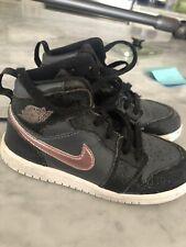 Nike Air Jordan Toddler Girl 9c Black/Metallic Pink Swoosh