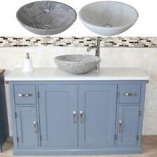 Bathroom Single Vanity Unit Grey Painted Cabinet White Quartz Marble Basin 402