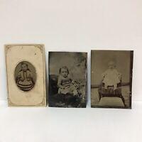 Lot Of 3 Antique Tintypes Studio Portraits Photos Babies Toddlers Hidden Mother