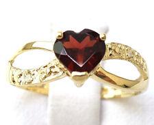 SYJEWELLERY 9CT YELLOW GOLD NATURAL HEART CUT GARNET & DIAMOND RING SIZE N R975