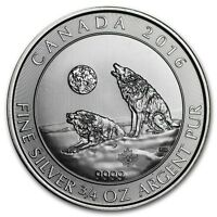 2016 Canadian Wolf Series Howling Wolves 3/4 oz .9999 Silver BU Bullion Coin