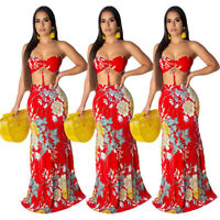 Hot Women Strapless Chest Wrap Floral Print Summer Party Long Sexy Dress 2pcs
