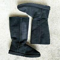 UGG Australia Classic Tall Sheepskin Boots Black Style 5815 Size 9 Women's