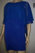 TFNC Blue Sheer Draped Lined Short Open Back Summer Dress Size M BNWT