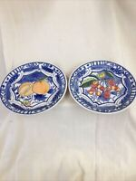 "Vtg Chateau Italy 1994 Cardinal Blue Porcelain decorative Plate 8"" Set Of 2 VG"