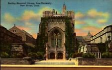 LINEN POSTCARD- STERLING MEMORIAL LIBRARY, YALE UNIVERSITY, NEW HAVEN, CT  BK20