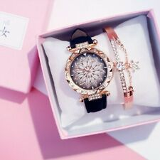 Leather Women Flower Quartz Analog Watch Women Starry Flower