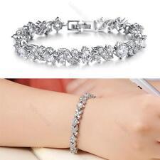 Luxury #L Shining Crystals Platinum Plated Women Tennis Bracelet Wedding Bangle