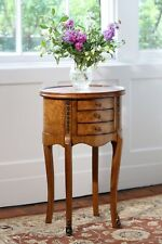 Hampton Walnut Oval Accent Table 3 Drawers H73 X W46 X D36 Cm Tw003