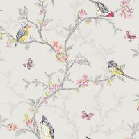 PHOEBE BIRDS WALLPAPER DOVE GREY 98081 HOLDEN DECOR FEATURE WALL NEW