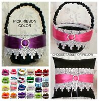 Custom Ribbon Color Black with White Lace Flower Girl Basket OR Ring Pillow