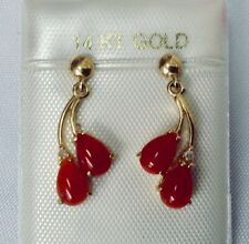 14K Yellow Gold Genuine Natural Aka Red Coral & Diamond Dangle Earrings NEW
