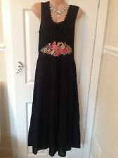 Monsoon black cotton/broderie   dress size 12 vgc Best Price Now Hols 25/5 To 6/