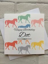 Handmade Personalised Birthday Card (Niece/Daughter/Sister/Cousin) Pastel Horses