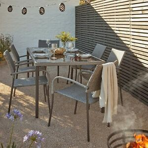 Deluxe - Bambrick 6 Seater Garden Dining Set - Was £399.99(Only 2 Left In Stock)