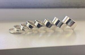 2mm- 9mm 925 sterling silver MEN'S WOMEN'S FLAT WEDDING BAND RING/ TOE/ THUMB