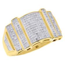 257f374f258f Declaración de hombre de oro amarillo 10K Diamante Meñique Anillo Redondo  Conjunto Pave 0.60 CT.