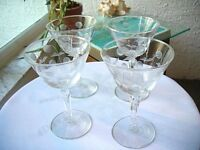 Set of 4 Romanian Etched Champagne Glasses
