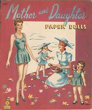 Vintage Uncut 1946 Mother Daughter Paper Doll ~10 Pg. Org Sze~Laser Reproduction