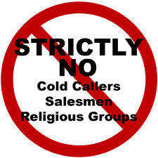 2 x No Cold Callers Salesmen groups Security Door Warning Sign Stickers - Round