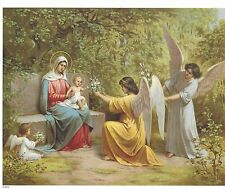 """Catholic Print Picture Virgin Mary Baby Jesus & angels 8x10"""" ready to be framed"""