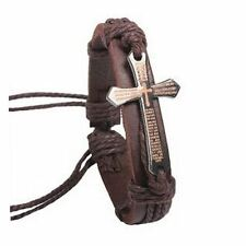 Brown Genuine Leather Christian Bible Cross Bracelet Wristband Mens Unisex